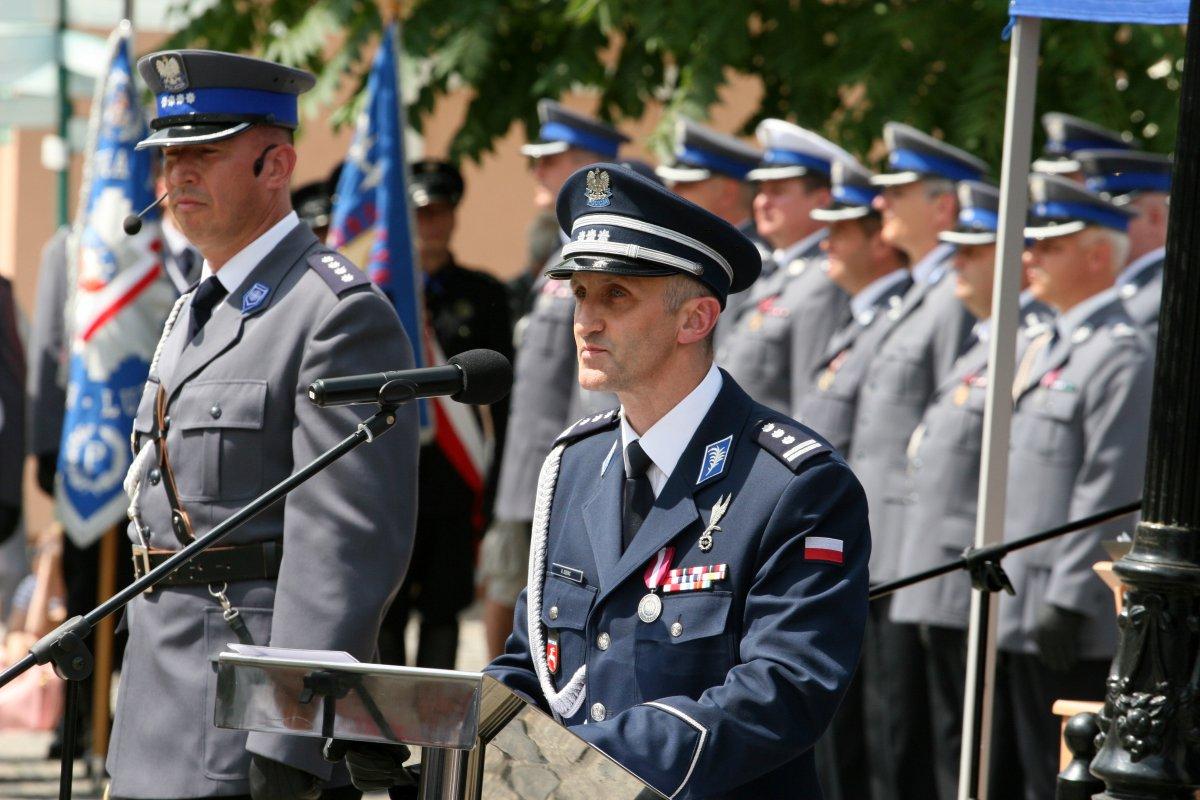 Komendant Wojewódzki Policji w Lublinie insp. Robert Szewc podczas przemowy